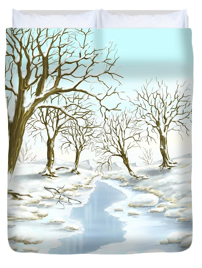 Ipad Duvet Cover featuring the painting Frozen River by Veronica Minozzi