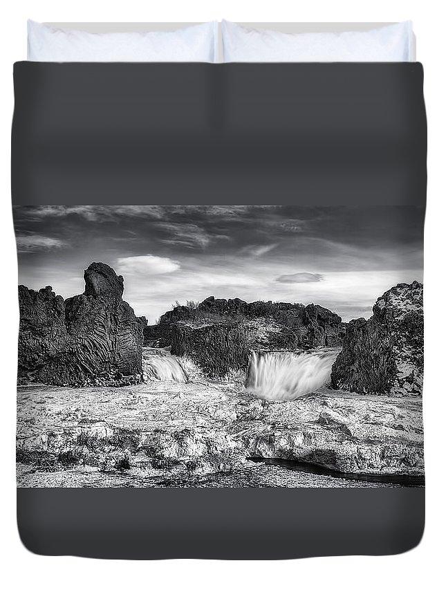 Hj�lparfoss Duvet Cover featuring the photograph Frozen Splendor by Evelina Kremsdorf