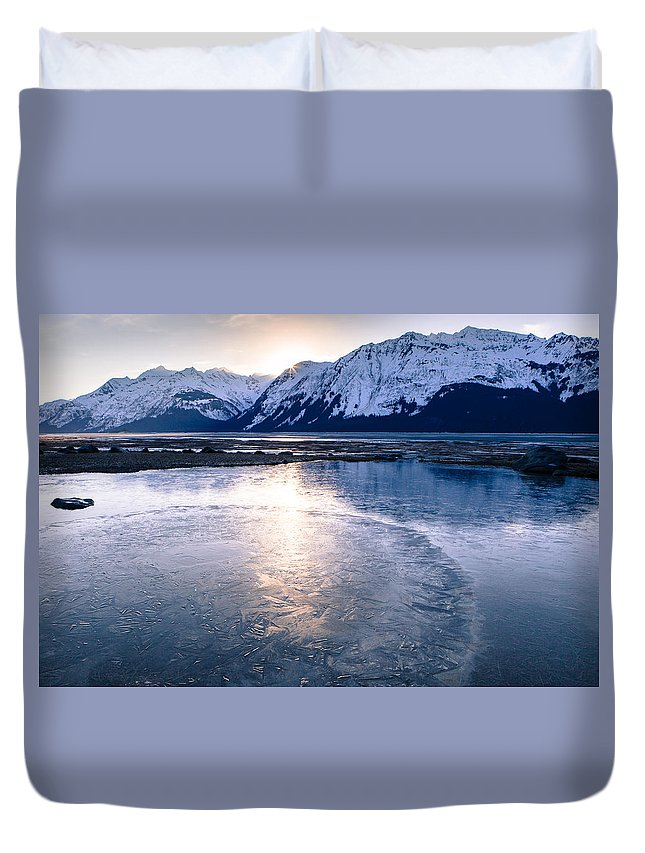 Alaska Duvet Cover featuring the photograph Frozen Sunset by Michele Cornelius