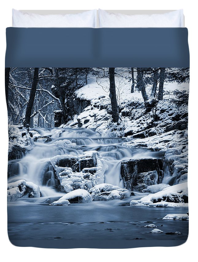Hdr Duvet Cover featuring the pyrography Frozen Waterfall by Steffen Gierok