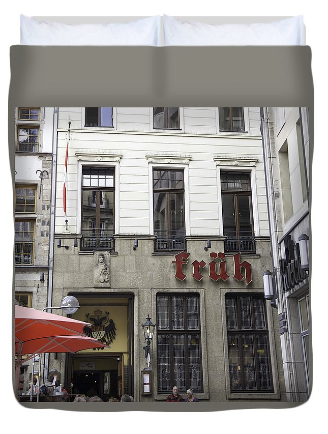 2014 Duvet Cover featuring the photograph Fruh Brauhaus Cologne Germany by Teresa Mucha