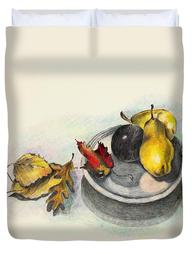 Fruit Duvet Cover featuring the drawing Fruit And Autumn Leaves by Judy Swerlick