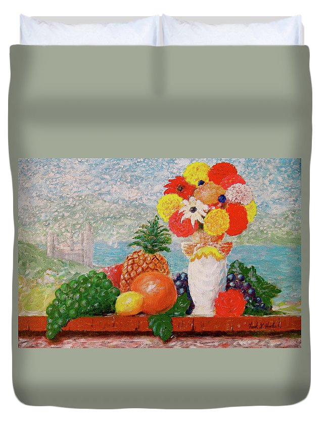 Grapes Orange Lemon Pineapple Flowers Castle Lake Duvet Cover featuring the painting Fruit Flowers And Castle by Frank Hunter