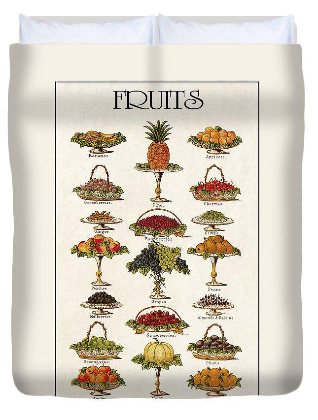 Fruit Duvet Cover featuring the digital art Fruit Lovers Panel 1888 by Daniel Hagerman