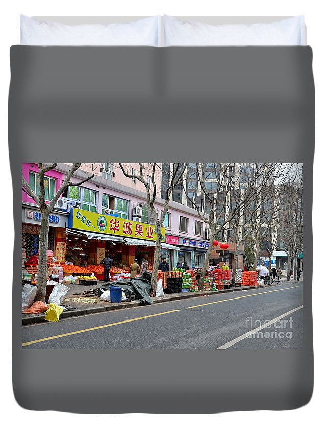 Shanghai Duvet Cover featuring the photograph Fruit Shop And Street Scene Shanghai China by Imran Ahmed