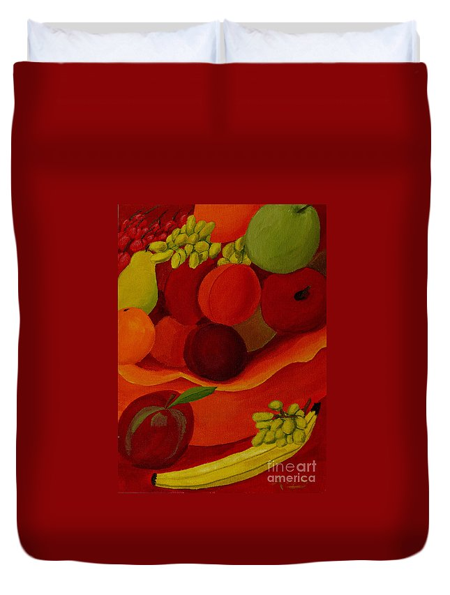 Fruit Duvet Cover featuring the painting Fruit-still Life by Anthony Dunphy