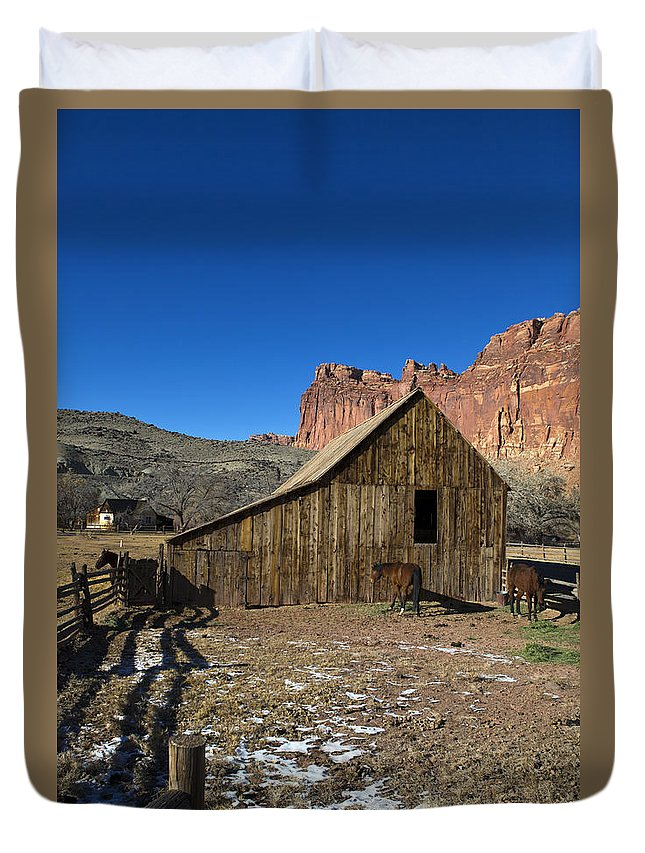 Capitol Reef Duvet Cover featuring the photograph Fruita Horse Stable Capitol Reef National Park Utah by Jason O Watson