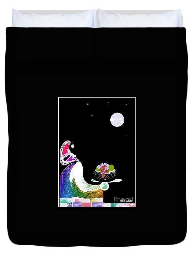 Moon Duvet Cover featuring the digital art Fruitful by Ann Calvo