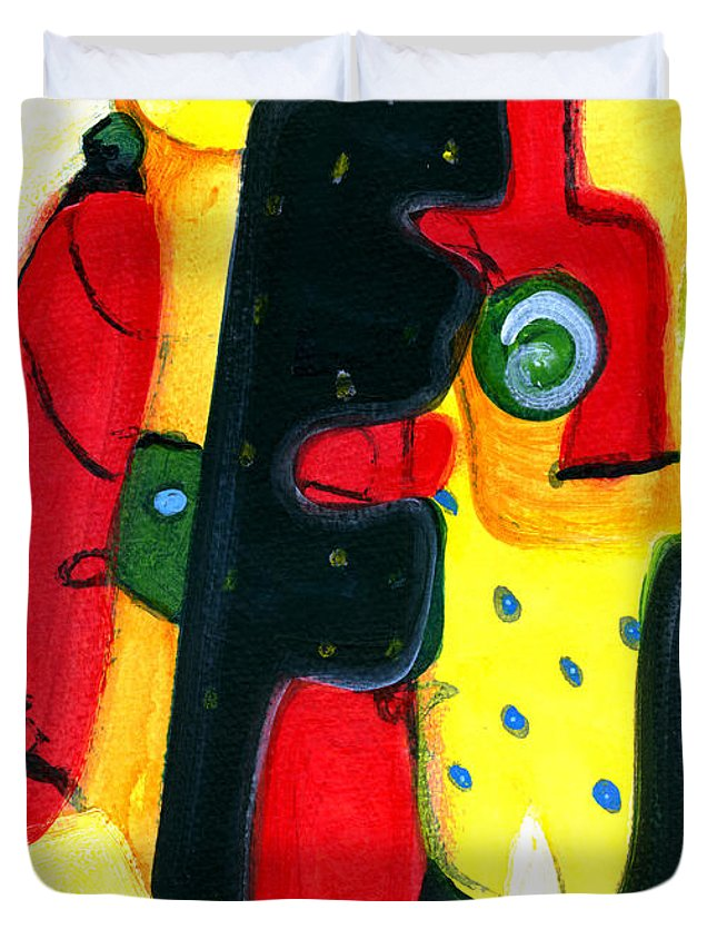 Abstract Art Duvet Cover featuring the painting Fuego by Stephen Lucas