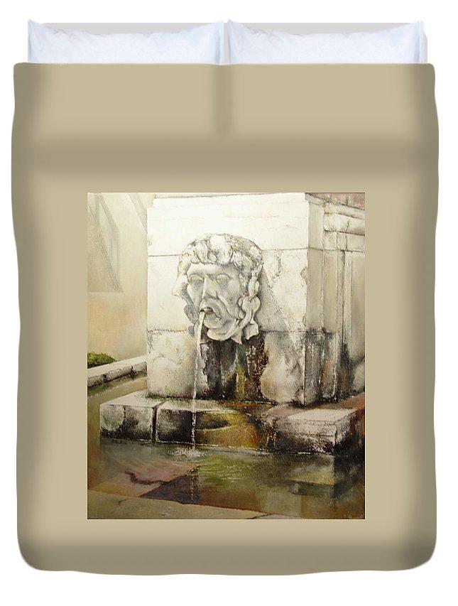 Fuente De San Isidoro- Leon Duvet Cover featuring the painting Fuente de San Isidoro by Tomas Castano