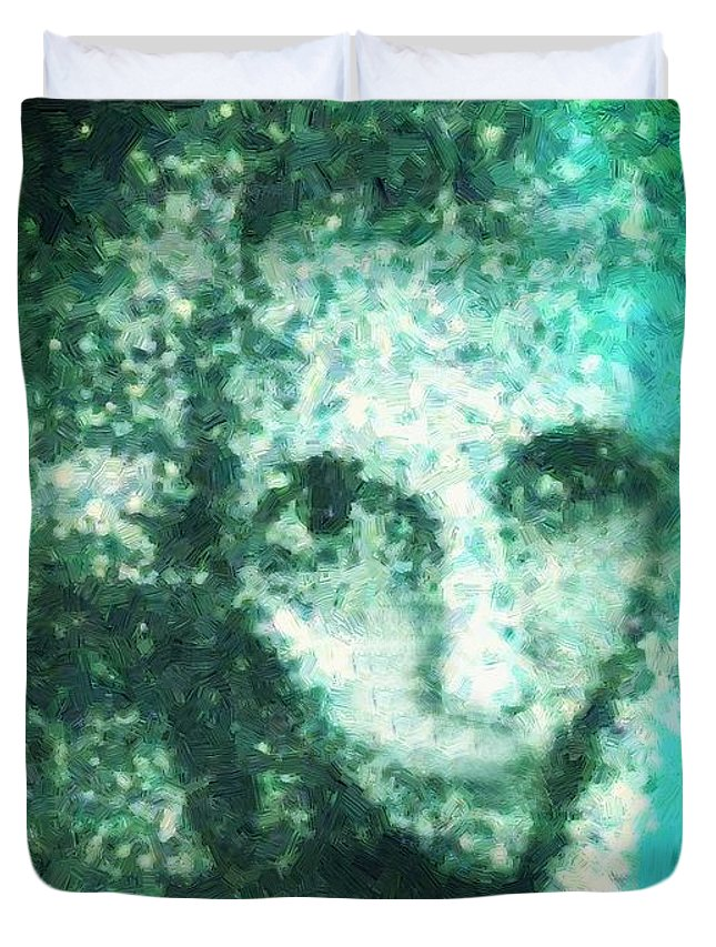 Woman Duvet Cover featuring the painting Fugue In Black And Cyan by RC DeWinter