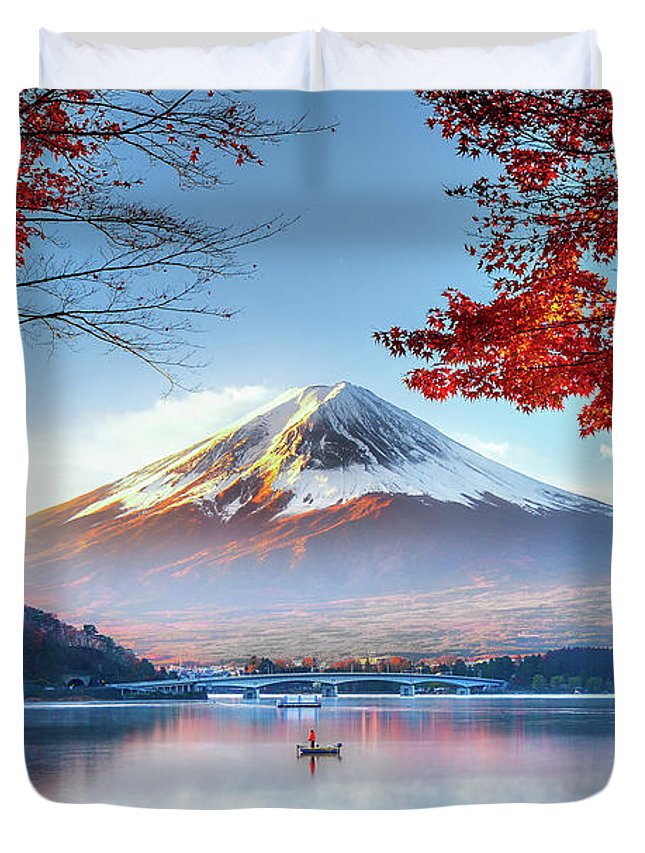 Snow Duvet Cover featuring the photograph Fuji Mountain In Autumn by Doctoregg