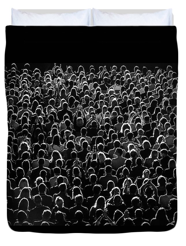 Event Duvet Cover featuring the photograph Full Frame Shot Of Crowd At Music by Rytis Seskaitis / Eyeem