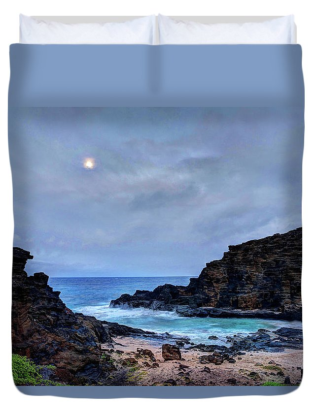 Tranquility Duvet Cover featuring the photograph Full Moon In The Clouds by Julie Thurston