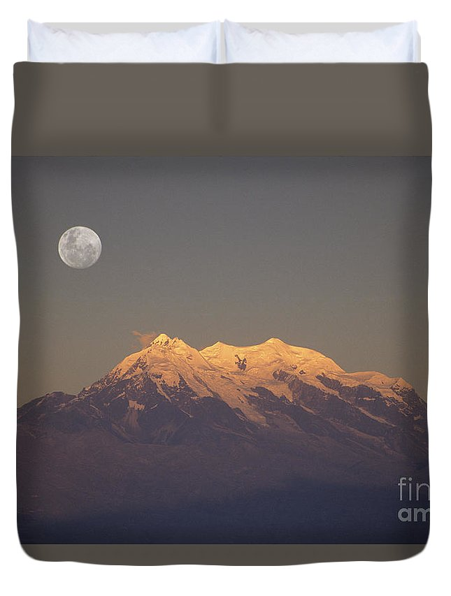 Bolivia Duvet Cover featuring the photograph Full Moon Rise Over Mt Illimani by James Brunker
