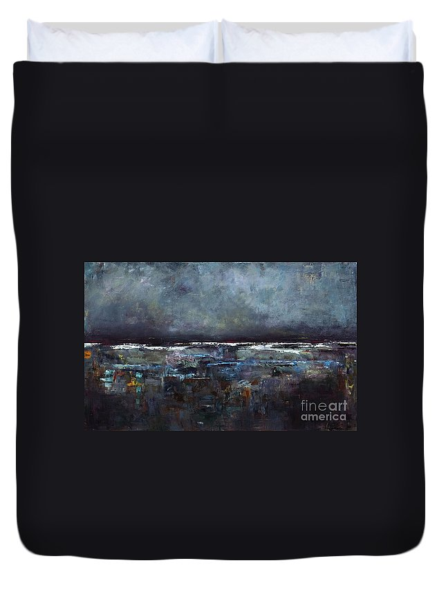 Ocean Duvet Cover featuring the painting The Seas Reflection by Frances Marino