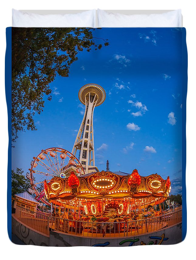 Space Needle Duvet Cover featuring the photograph Fun Forest Now That Looks Fun by Scott Campbell