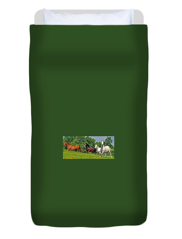 Horses Duvet Cover featuring the photograph Fun Run 4 by Lydia Holly