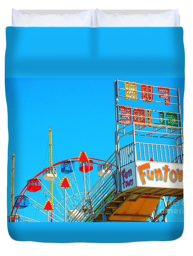 Slide Duvet Cover featuring the photograph Fun Slide by Chanel Fernandez