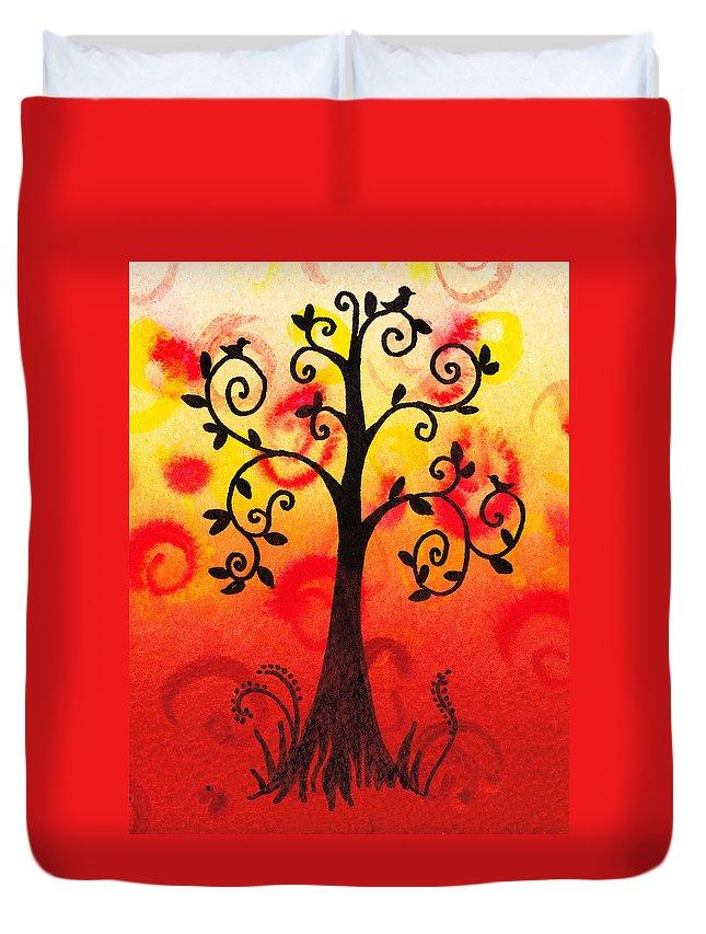 Tree Duvet Cover featuring the painting Fun Tree Of Life Impression IIi by Irina Sztukowski