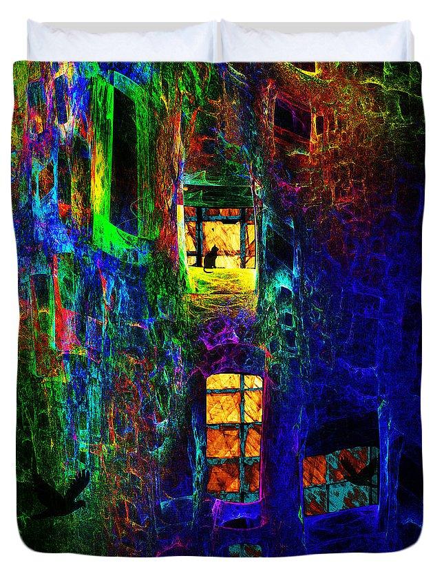 Funhouse Duvet Cover featuring the digital art Funhouse - Second Version by Klara Acel