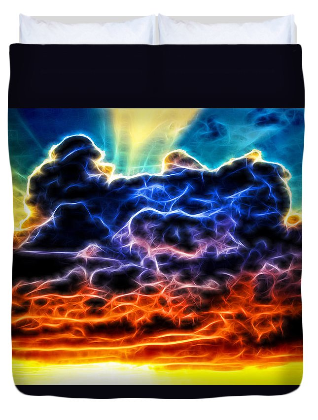 Rainbow Duvet Cover featuring the photograph Funky Glowing Electrified Rainbow Clouds Abstract by Shelley Neff