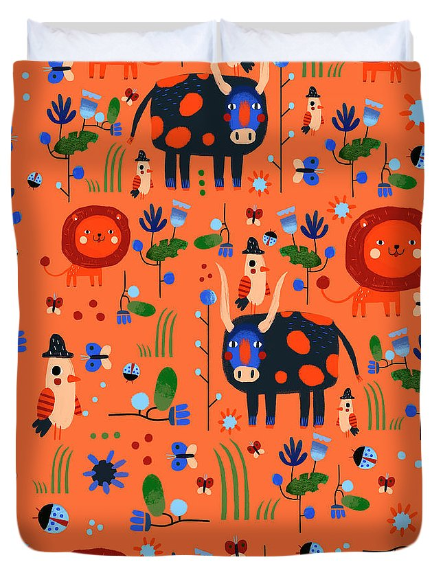 Gouache Duvet Cover featuring the digital art Funny Pattern With Animals by Ekaterina Ladatko