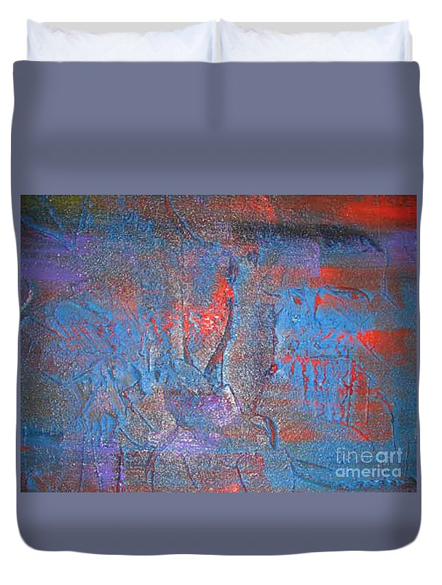 Abstract Duvet Cover featuring the painting Funny Rain by Silvana Abel