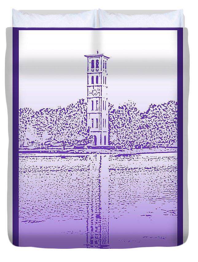 Furman University Duvet Cover featuring the digital art Furman Bell Tower by Greg Joens