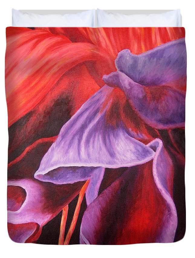 Floral Duvet Cover featuring the painting Fuschia Folds by Darla Brock