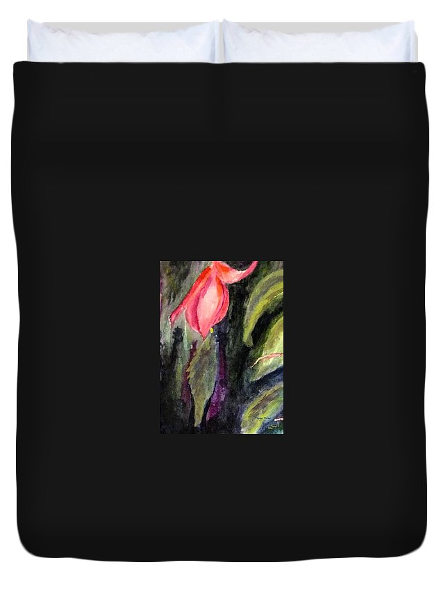 Flowers Duvet Cover featuring the painting Fuschia by Peggy King