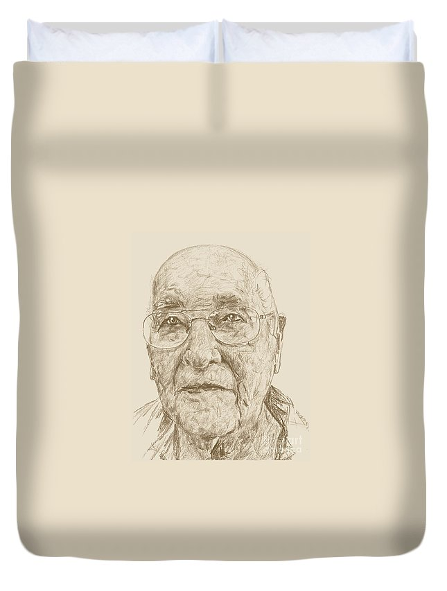 Memory Care Duvet Cover featuring the drawing Gail by PainterArtist FIN