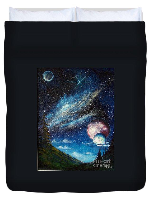 Space Horizon Duvet Cover featuring the painting Galatic Horizon by Murphy Elliott