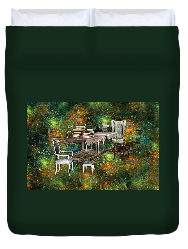 Fantasy Duvet Cover featuring the digital art Galaxy Booking by Betsy Knapp