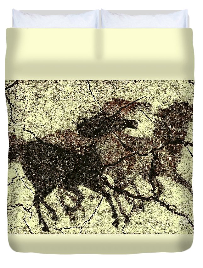 Animal Duvet Cover featuring the digital art Galloping Horses by Dragica Micki Fortuna