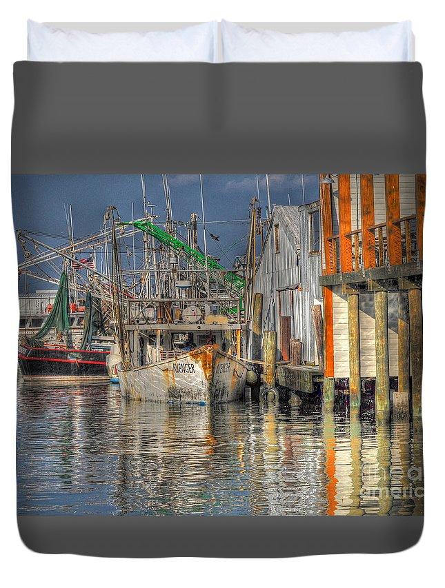 Galveston Duvet Cover featuring the photograph Galveston Shrimp Boats by Savannah Gibbs