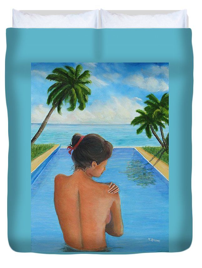 Ocean Duvet Cover featuring the painting Game Changer by Marcel Quesnel