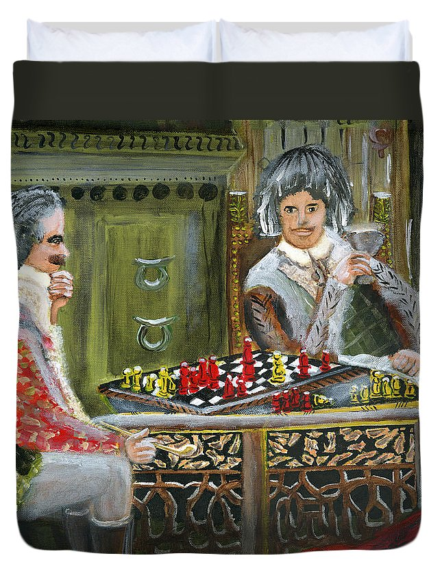 Chess Duvet Cover featuring the painting Game Mastermind by Vaidya Selvan