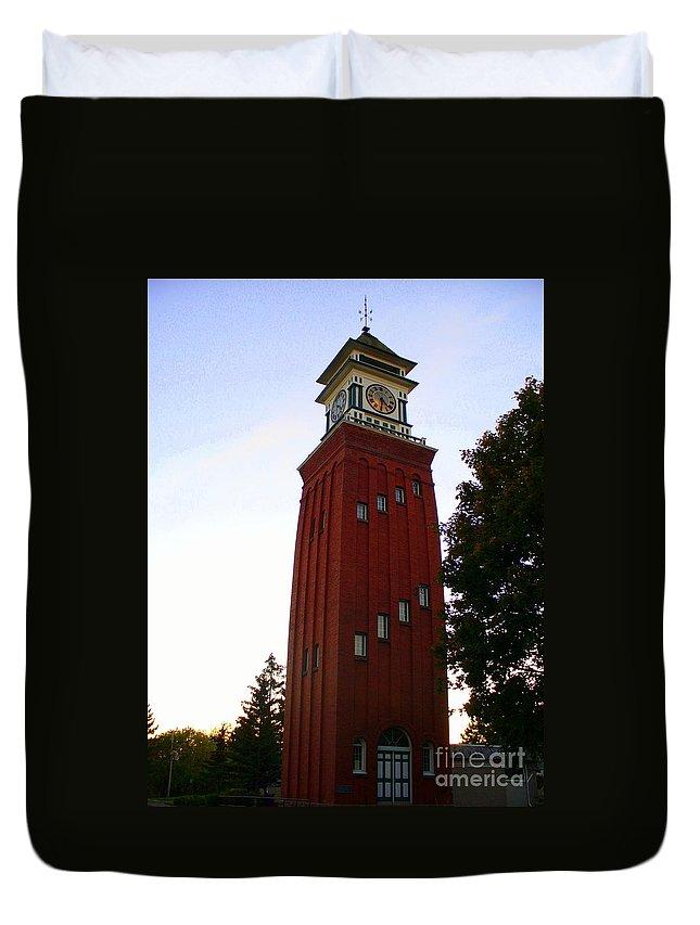 Landmark Duvet Cover featuring the photograph Gananoque Clock Tower by Lingfai Leung