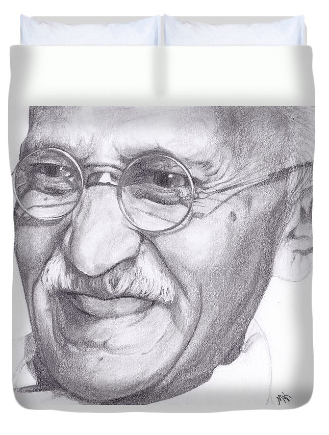 Gandhi Duvet Cover featuring the drawing Gandhi by Mak ArtDesings