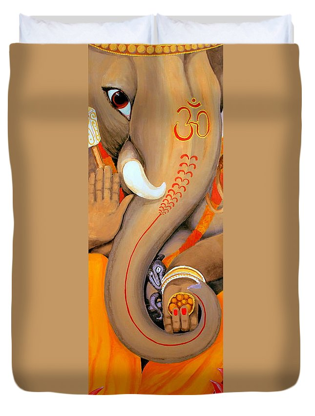 Elephant Duvet Cover featuring the painting Ganesh by Ann Sokolovich
