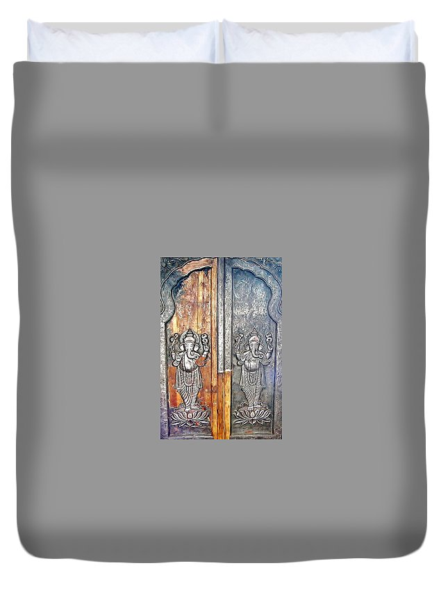 Hindu Temple Duvet Cover featuring the photograph Ganesh Door Plating At The Yoga Maya Hindu Temple In New Delhi India by Kim Bemis