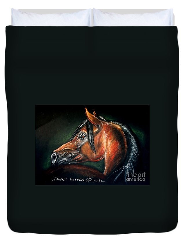 Horse Duvet Cover featuring the drawing Ganges by Angel Ciesniarska