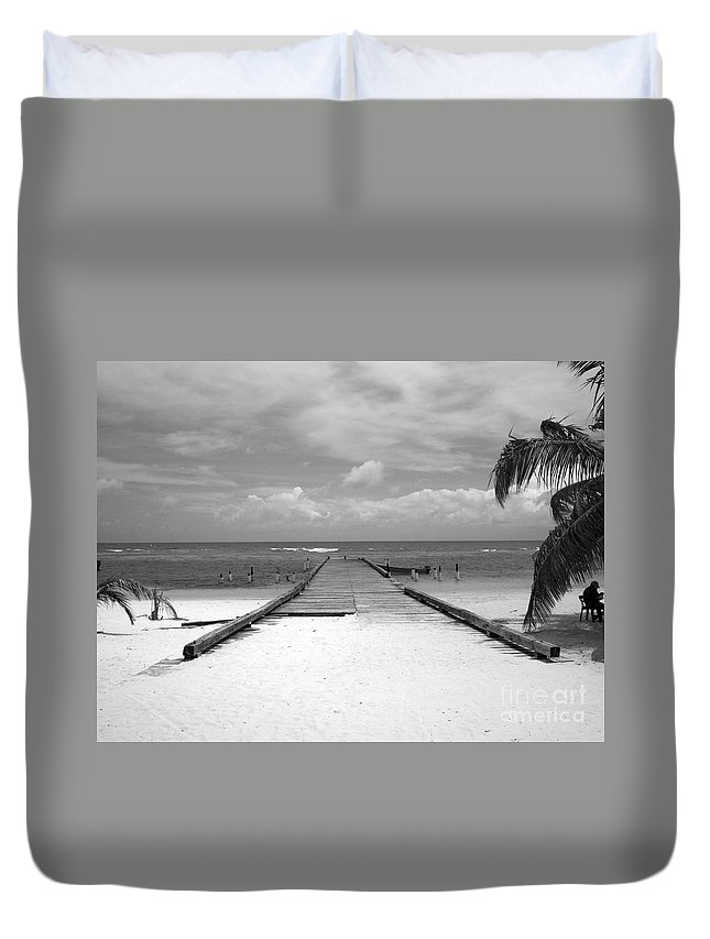 Palm Duvet Cover featuring the photograph Gangplank Of Perfection Black And White by Heather Kirk