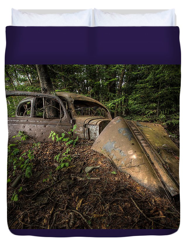 Abandoned Duvet Cover featuring the photograph Gangsters Last Ride by Jakub Sisak