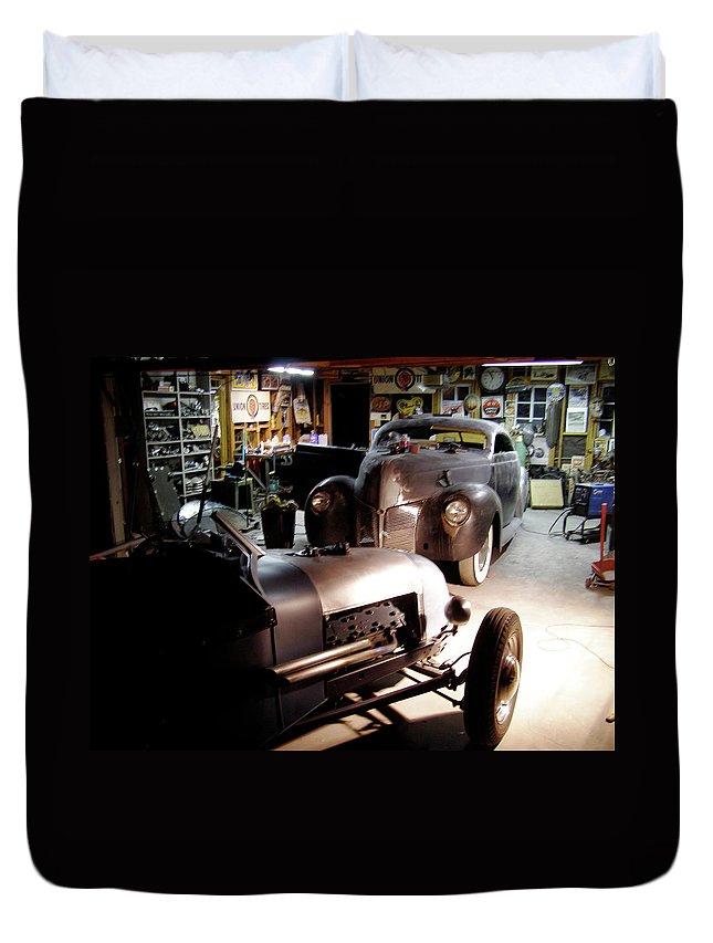 Garage Tour Duvet Cover featuring the photograph Garage Tour by Alan Johnson