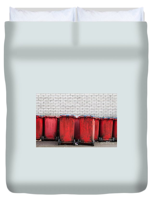 Garbage Duvet Cover featuring the photograph Garbage Bins by Luis Alvarenga