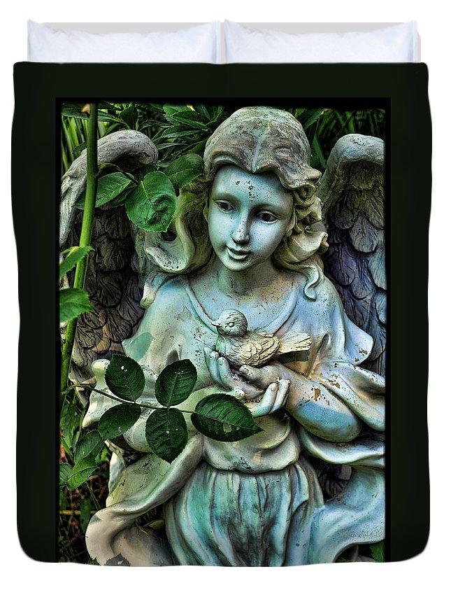 Garden Duvet Cover featuring the photograph Garden Angel by Jes Fritze