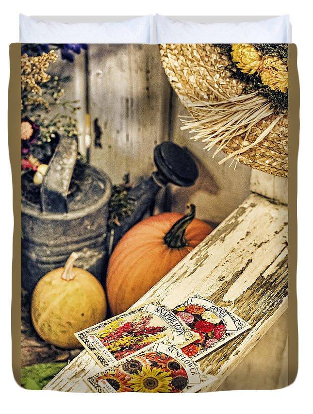 Garden Duvet Cover featuring the photograph Garden Bench by Heather Applegate