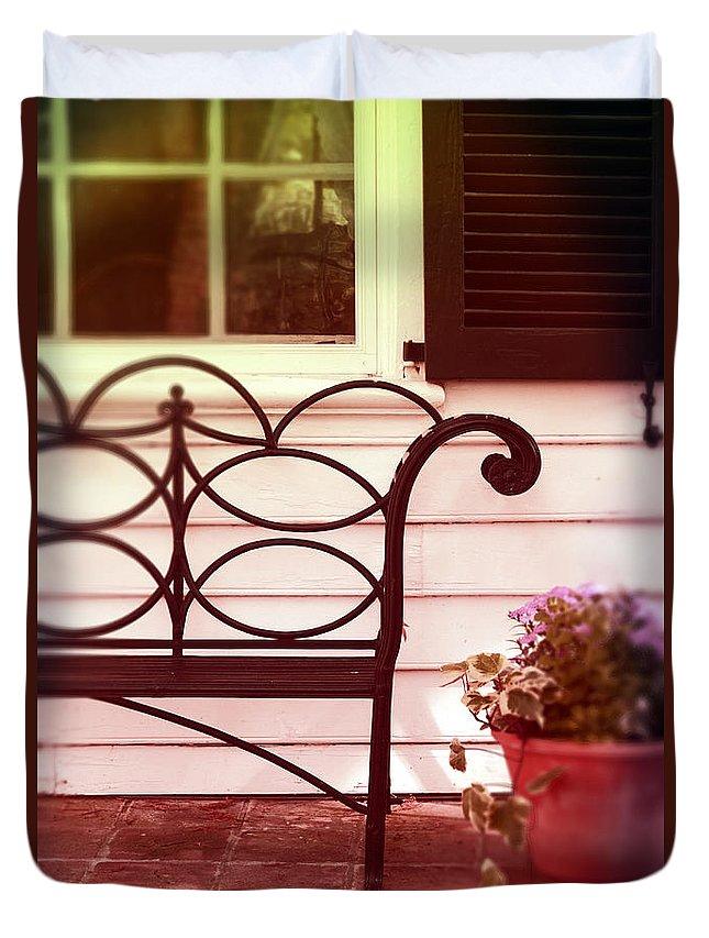 Bench On Porch Duvet Cover featuring the photograph Garden Bench by Jill Battaglia